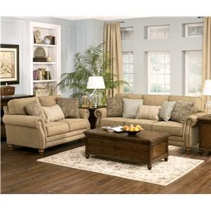 Prelude Champagne Classic Sofa With Decorative Nail Head Trim By