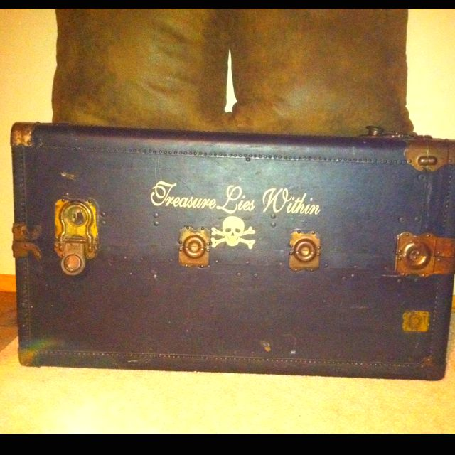 Free steamer trunk from a coworker a little fun decals to make it new again :)