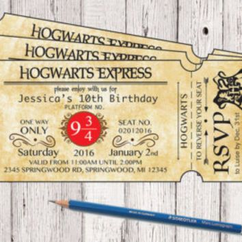 Harry Potter Hogwarts Express Ticket Birthday Invitation Hogwarts