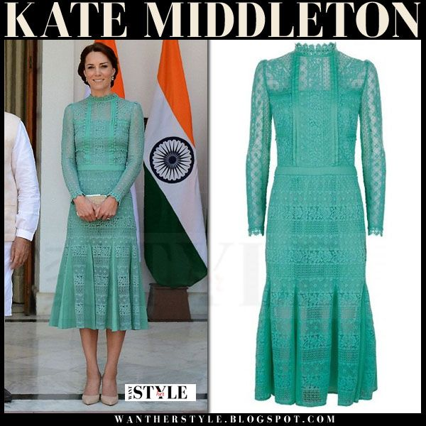 Kate Middleton in green lace midi dress with high neck  940e5cee9