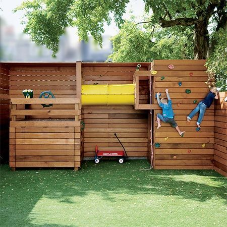 kid child friendly outdoor ideas disguise hide cover vibracrete walls - Small Garden Ideas Kids