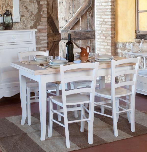 Tavolo allungabile in legno da cucina shabby chic con 4 for Tavoli per cucina in legno