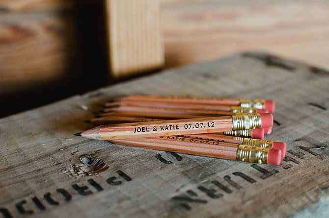 Pencils Personalized With The S Names And Wedding Date As Favors