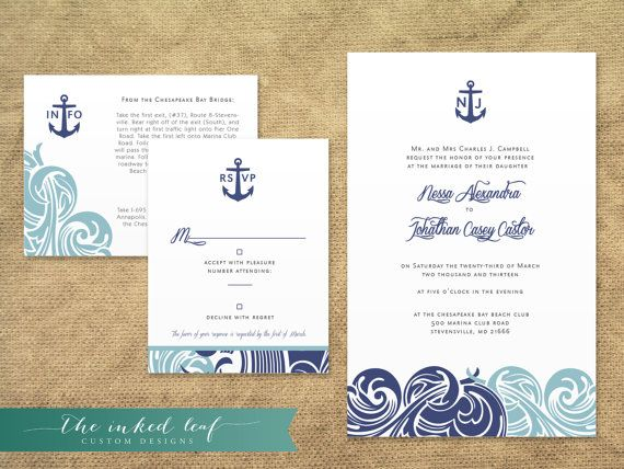 Modern Nautical Themed Wedding Invitations from The Inked Leaf on – Nautical Theme Wedding Invitations