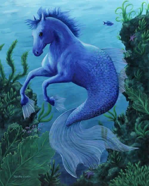 Unknown Artist - Hippocampus - Greek Mythology Sea Horse  Tags