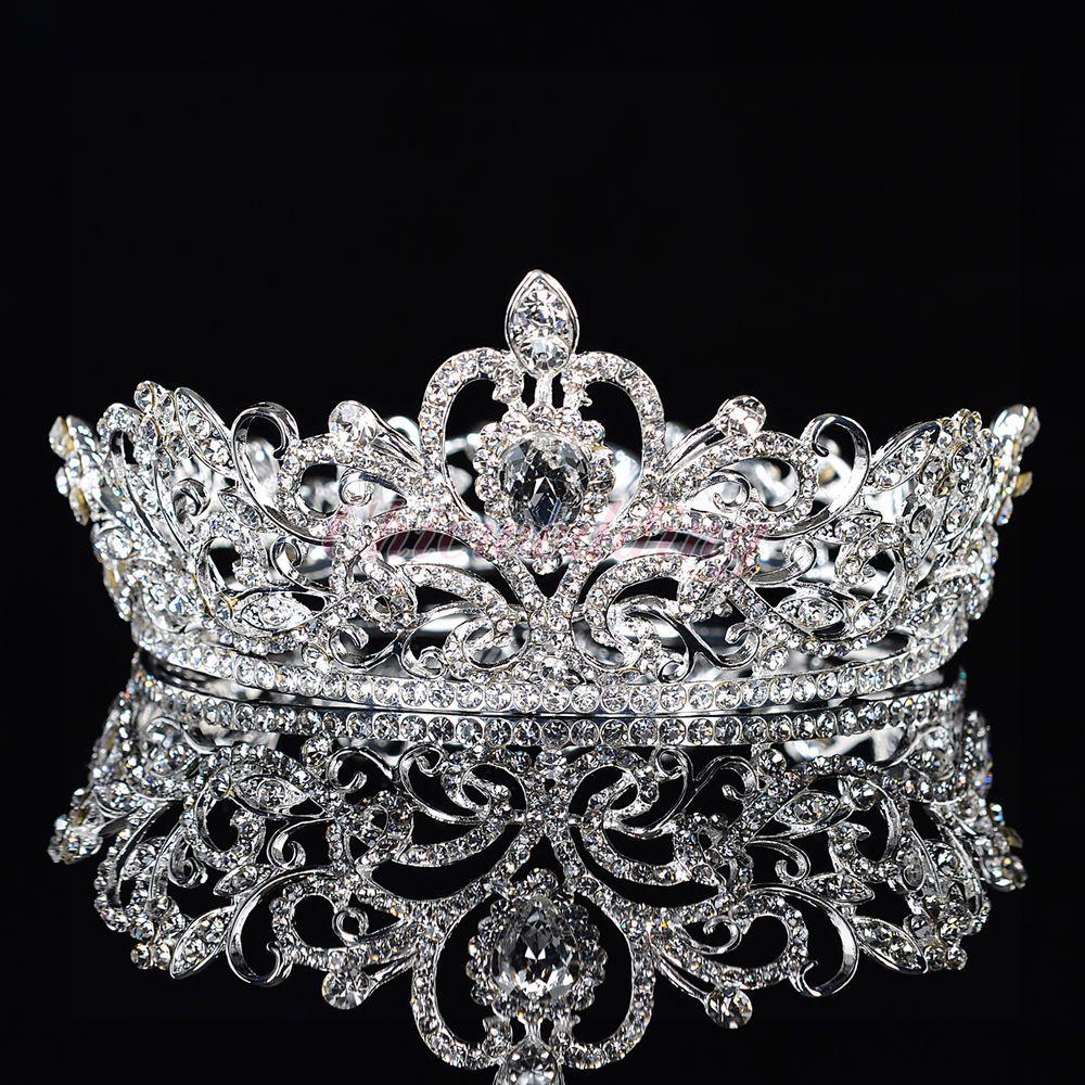 Crystal Rhinestone King Crown Tiara Wedding Pageant Bridal Diamante Headpiece