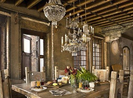 Elegant meets rustic when a cluster of crystal chandeliers is used elegant meets rustic when a cluster of crystal chandeliers is used over reclaimed wood furniture in this nyc chelsea district loft aloadofball Choice Image