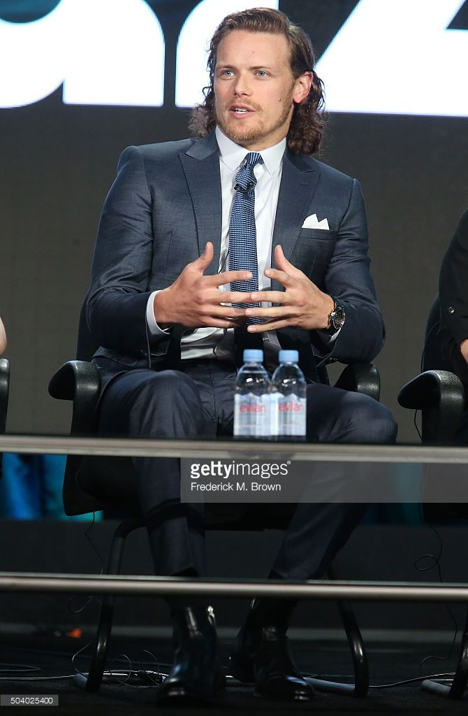 Actor Sam Heughan speaks onstage during the Outlander panel as part of the Starz portion of This is Cable 2016 Television Critics Association Winter Tour at Langham Hotel on January 8, 2016 in Pasadena, California. (Photo by Frederick M. Brown/Getty Images)