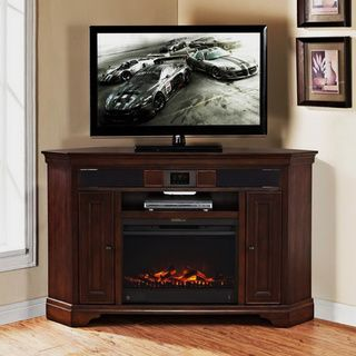 Mulberry Corner Tv Stand With Built In Surround Sound And Fireplace Corner Tv Stands Electric