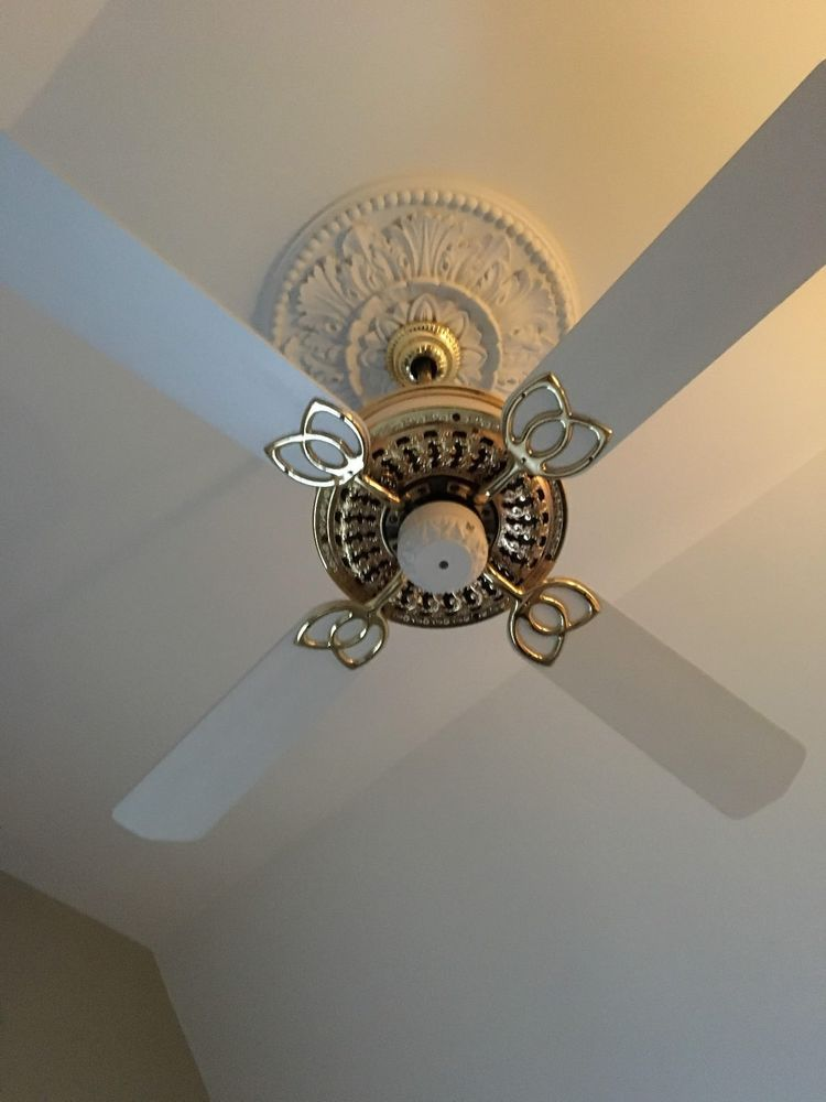 Selling This Victorian Intelitouch Ceiling Fan As You Can See The Lowest Portion Is White To Match The B Brass Ceiling Fan Ceiling Fan Victorian Ceiling Fans