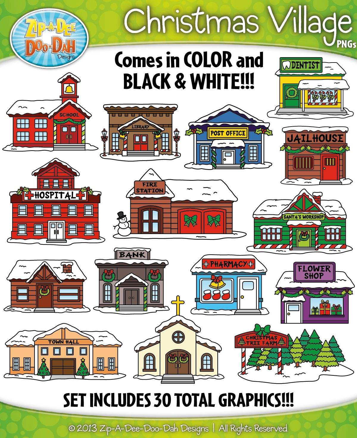 Christmas Village Community Buildings Clipart {ZipADee