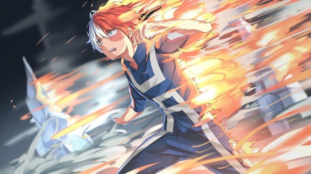 Shouto Todoroki Boku No Hero Academia Anime Boy Run Fire Wallpaper Anime Hero Anime Wallpaper