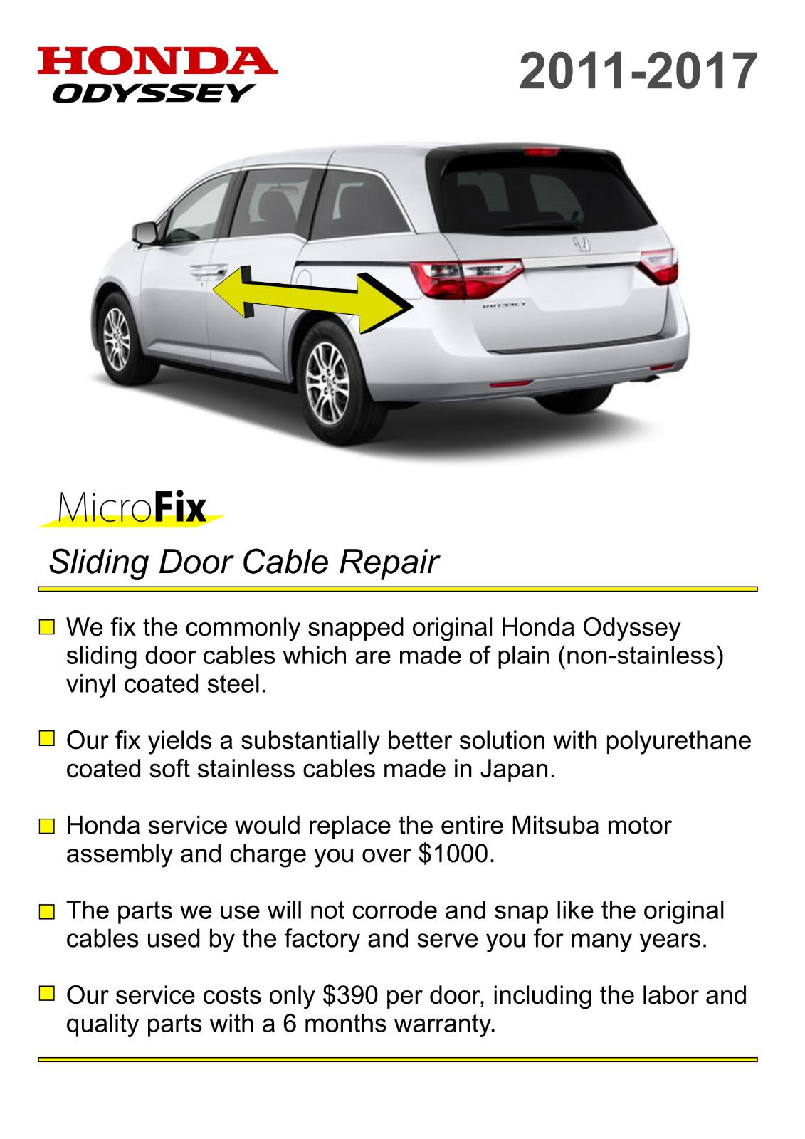 Cool Great 2011 2017 Honda Odyssey Sliding Door Motor Cable Repair