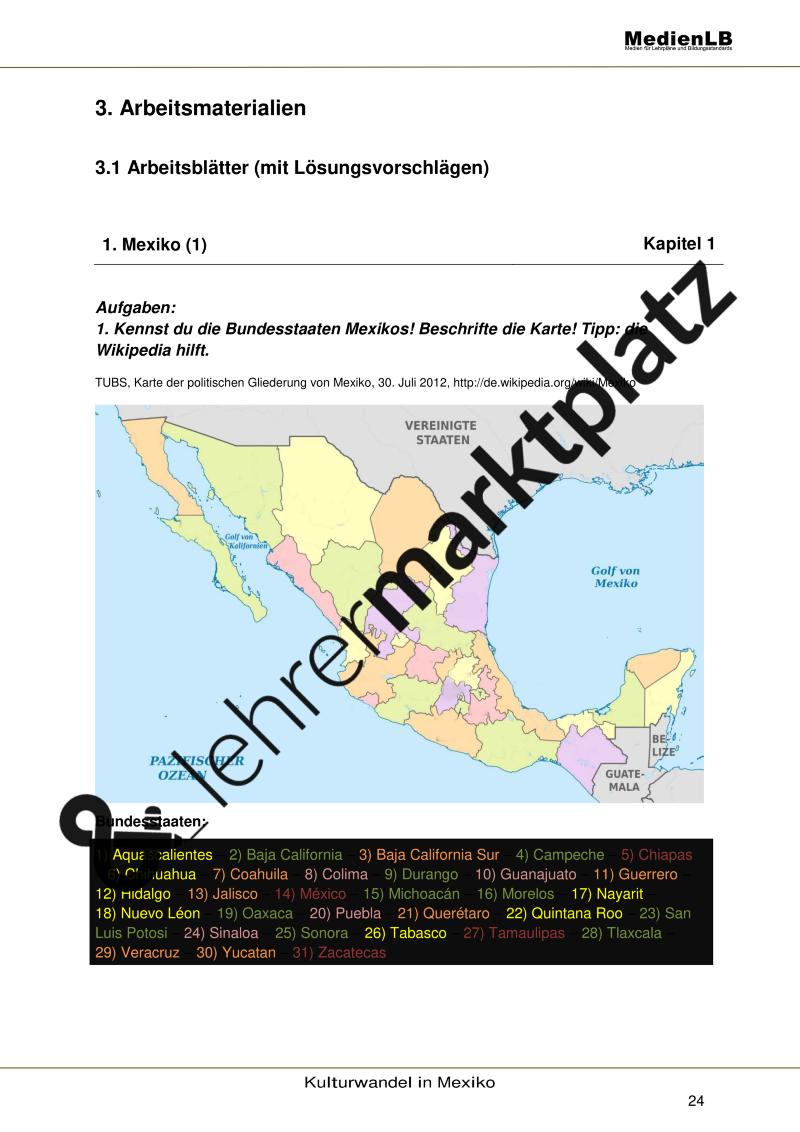 Mexiko - Arbeitsblätter zur Topographie – Erdkunde   Erdkunde ...