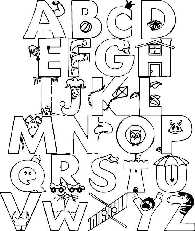 colorear letras abecedario  ABC Colorear  Pinterest  Colorear