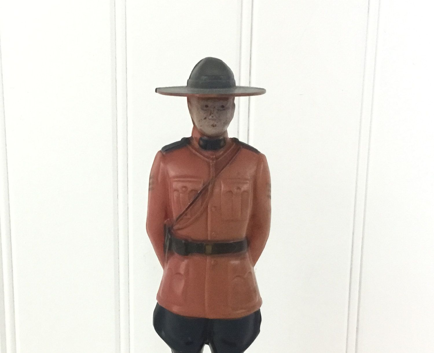 Vintage Royal Canadian Mountie Figurine Plastic Doll Sargent Pepper Reliable Collectible Made in Canada RCMP Souvenir Red