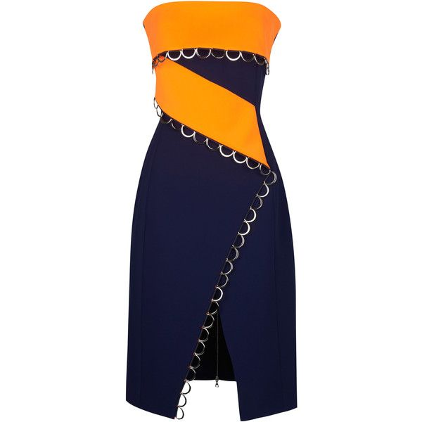 MUGLER Bonded Tailor Navy Blue And Neon Orange Dress (160,605 DOP) ❤ liked on Polyvore featuring dresses, navy dress, asymmetrical dress, blue strapless cocktail dress, orange dress y neon orange dress