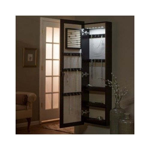 Mirror Jewelry Armoire Box Hidden Storage Organizer Light Lock Wall