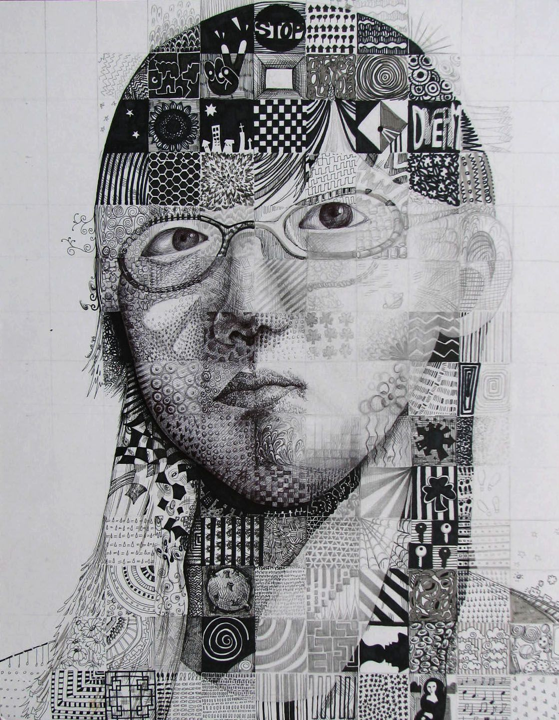 Self Portrait Texture Grid Mixed Media Student Work In