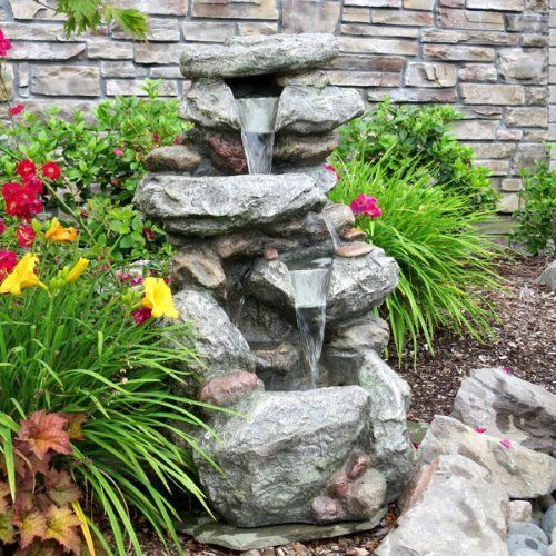 Outside Flower Beds With Water Fountains Google Search