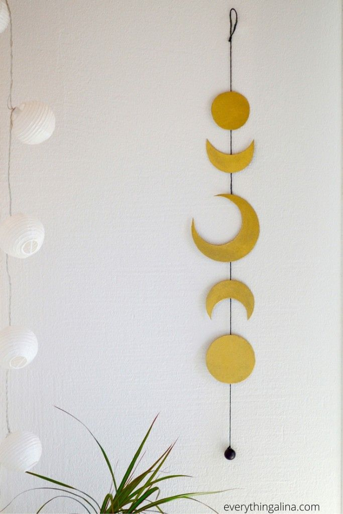 Diy moon phases wall hanging bohemian bedroom or dorm room decor easy to make inspired by free - Diy bohemian wall art ...