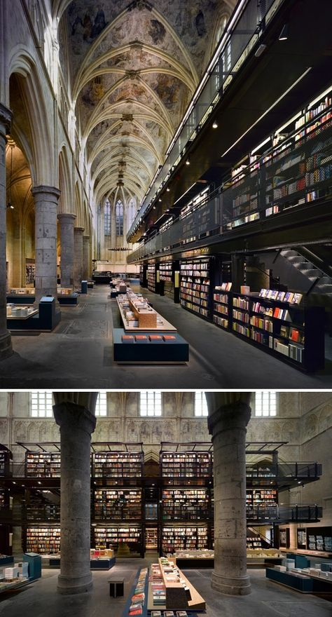 "Wow - (Most Beautiful Bookstores, e.g. ""A gorgeous converted Dominican church gives the power of reading its due diligence. Selexyz Bookstore, Maastricht, Holland"" (via Flavorwire))"