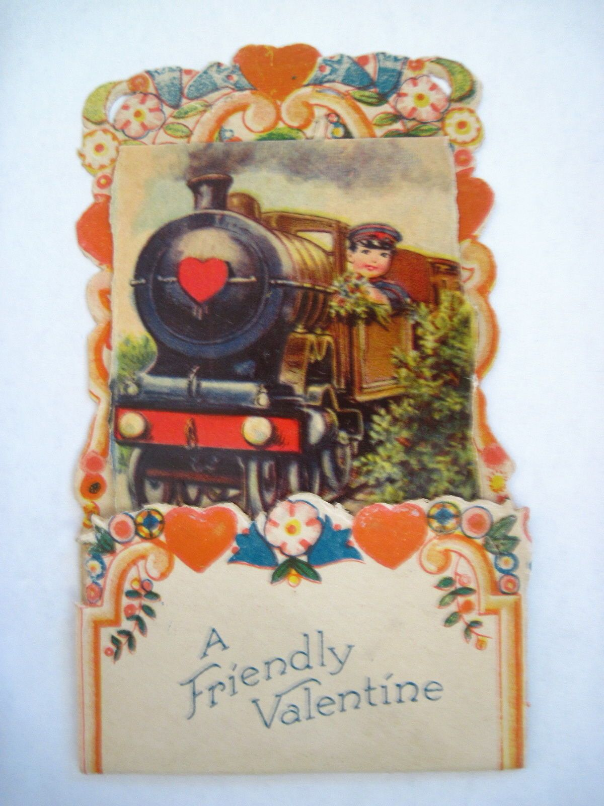 Delightful Vintage Embossed Pop-Out Valentine Card w/ Engineer Holding Bouquet  picclick.com
