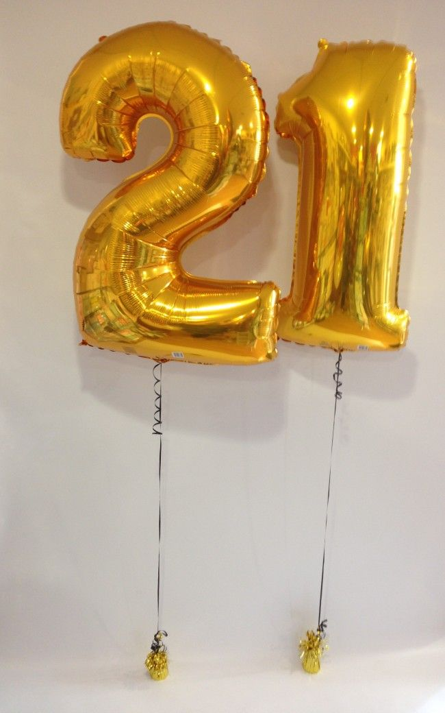 Large Gold 21 Balloon Numbers