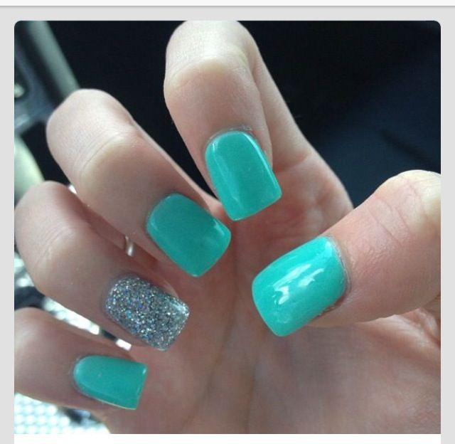 Nails Nail Art Design Blue Green Mint Robins Egg Tiffany Sparkly Simple