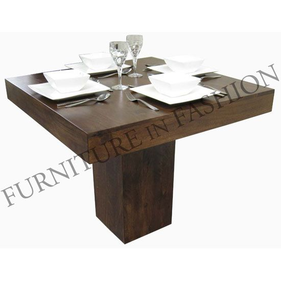 dakota small square wooden dining table only dark finish ls048 - Small Wood Dining Table
