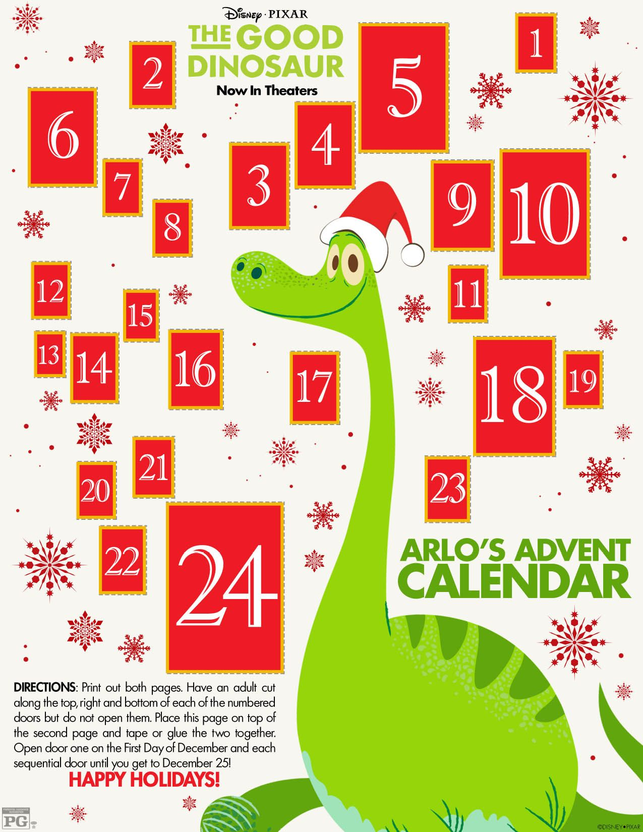 The Good Dinosaur Snowflake, Origami and Advent Calendar | Advent ...