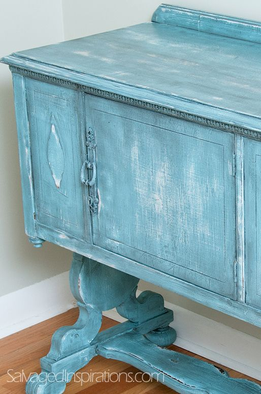 Salvaged Inspirations | French Country Sideboard Make-Over with Custom Turquoise HMCP