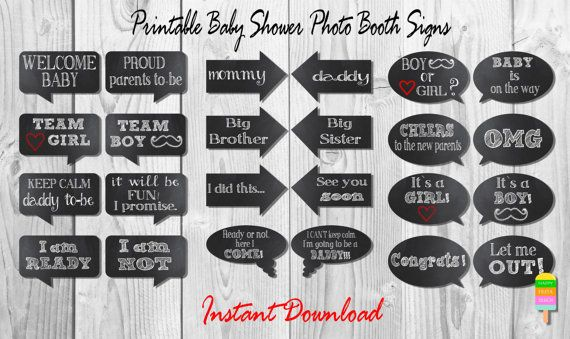 Baby Shower Photo Booth Signs Instant Download Photobooth Props Diy Printable Baby Baby Shower Photo Booth Props Baby Shower Photo Booth 2nd Baby Showers
