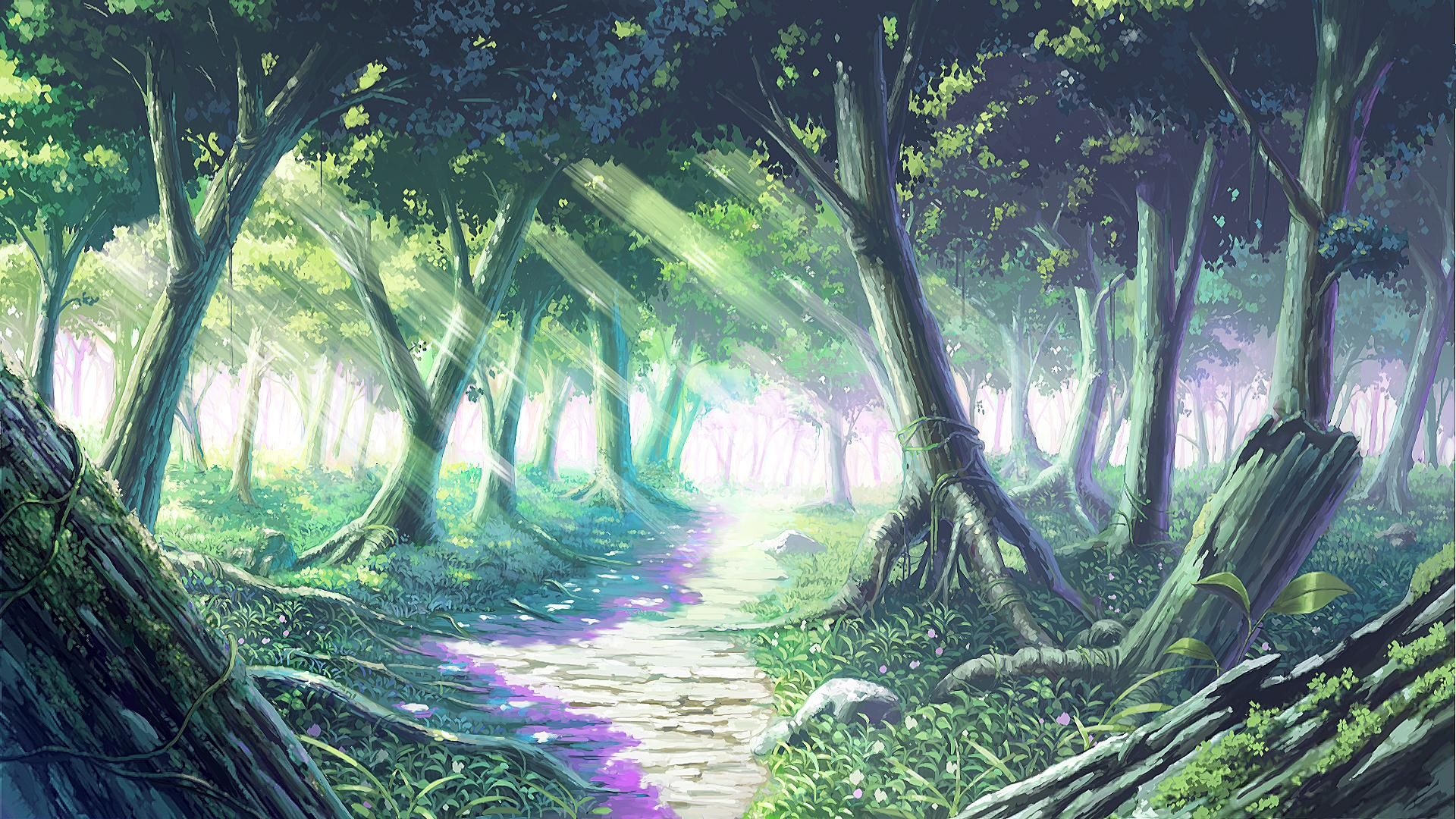 Sparkling Forest Nature Drawn Anime scenery, Anime