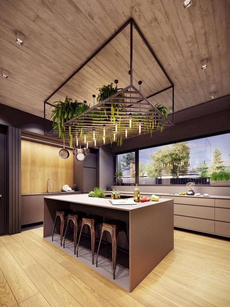 Comptoir De Cuisine Design Moderne Bois Avec Chaises Bar Idées