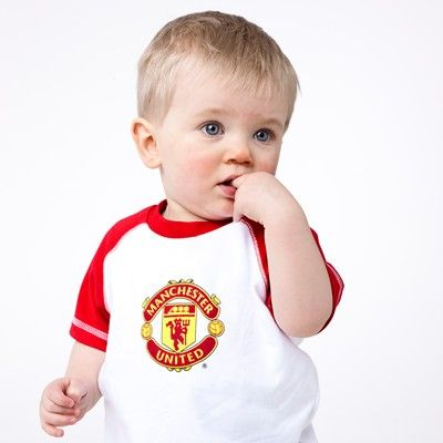 new style be503 5e799 Manchester United Crest T-Shirt - White/Red - Baby Boys ...