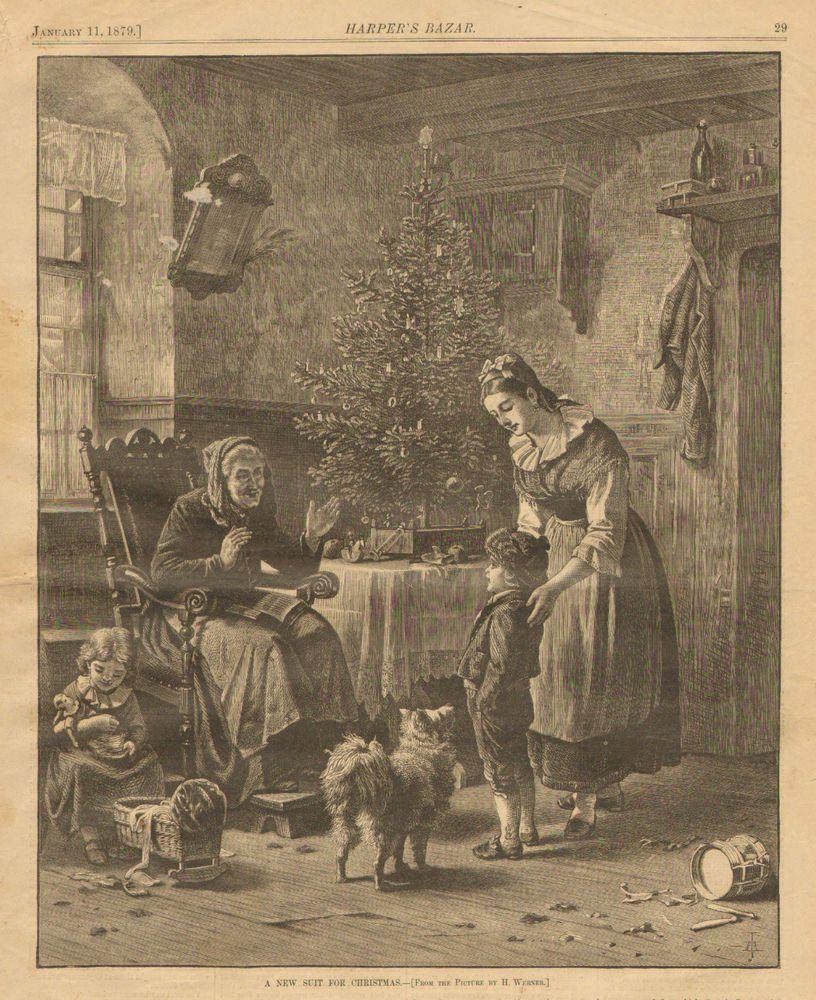 Children, Christmas, A New Suit, Spitz Dog, Vintage, 1879 Antique, Art, Print, #Vintage