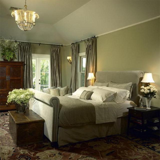 15 Green Bedrooms Show Off This Fresh Peaceful Color Green Master Bedroom Green Bedroom Walls Traditional Bedroom Design