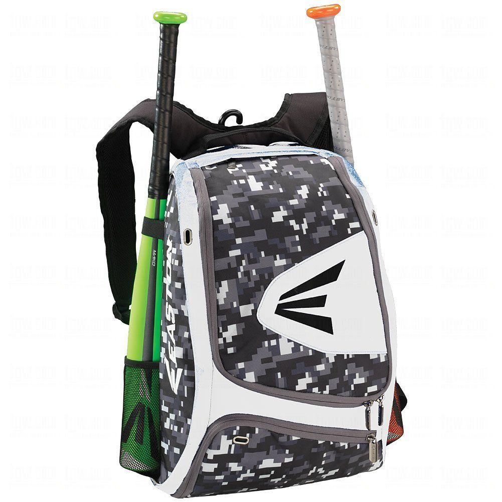 New! EASTON Rampage Black Backpack Bat Bag Baseball Softball 2 Bats Pack in it