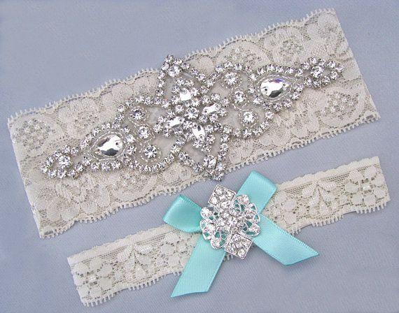 Wedding Garter Ivory White Bridal Set Something Blue Aqua Crystal Rhinestone Keepsake Toss Garters