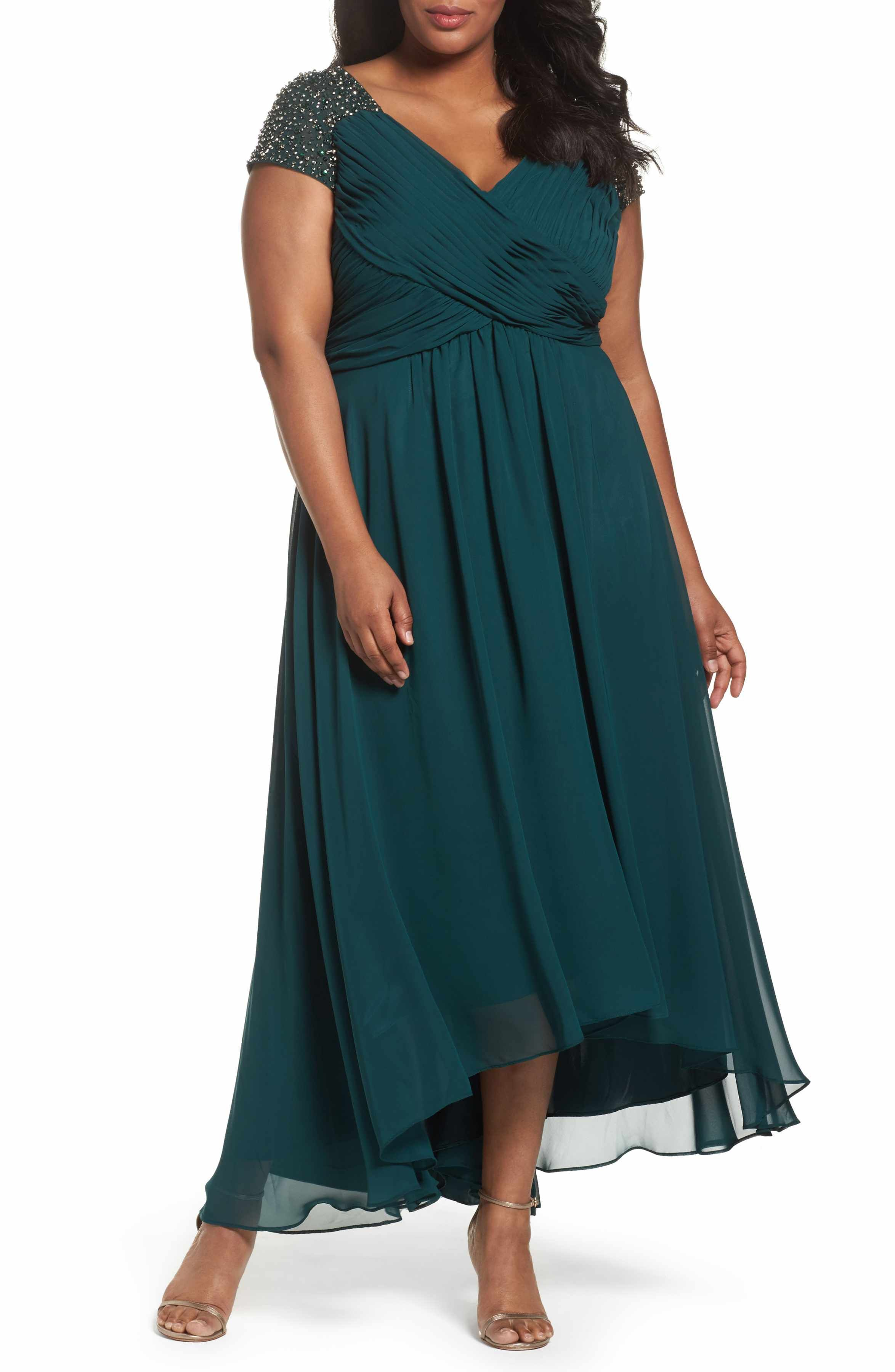 Nordstrom dresses wedding guest  Main Image  Eliza J Embellished Pleated Chiffon Gown Plus Size