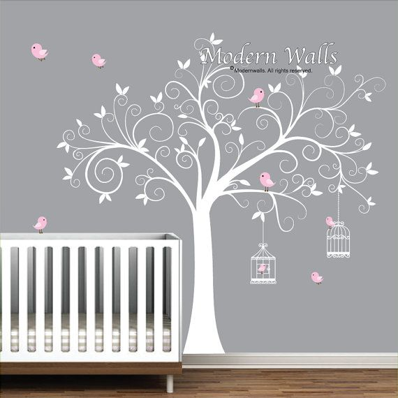 Great Wall Decal Tree With Birdcages Birds Baby Wall By Modernwalls Part 19