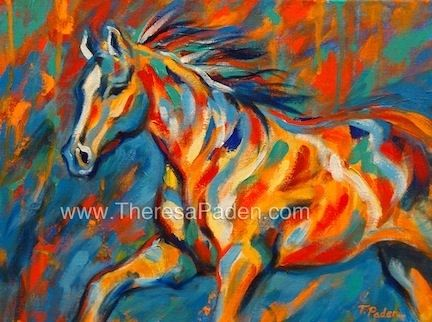 Abstract Colorful Horse Painting Aurora by Theresa Paden SOLD, painting by artist Theresa Paden