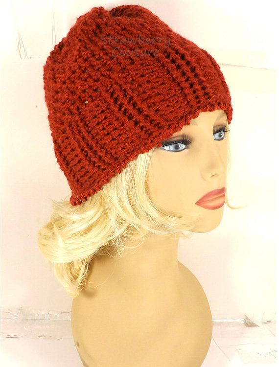 25a8f9568e2 Crochet Hat Womens Hat Crochet Ribbed Beanie Hat with Seed Stitch Terra  Cotta Orange Hat Crochet Beanie Hat by strawberrycouture by   strawberrycouture on   ...
