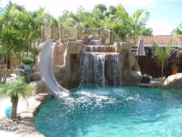 Image detail for swimming pool waterfalls custom rock for Pool design with slide
