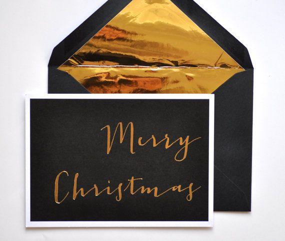 Gold Foil Envelope And Christmas Card, Etsy (mit Bildern