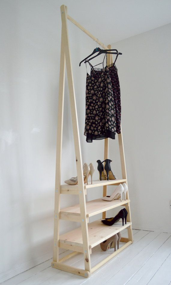 handmade natural wood clothes rack clothes rail with 3 shelves clothes rail clothes racks. Black Bedroom Furniture Sets. Home Design Ideas