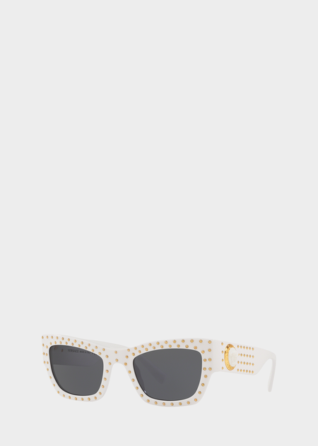 127b9e9beaca White Medusa Ares Stud Sunglasses - ONUL Sunglasses