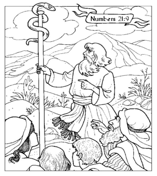 The Brazen Serpent Coloring Page Sunday School Coloring Pages