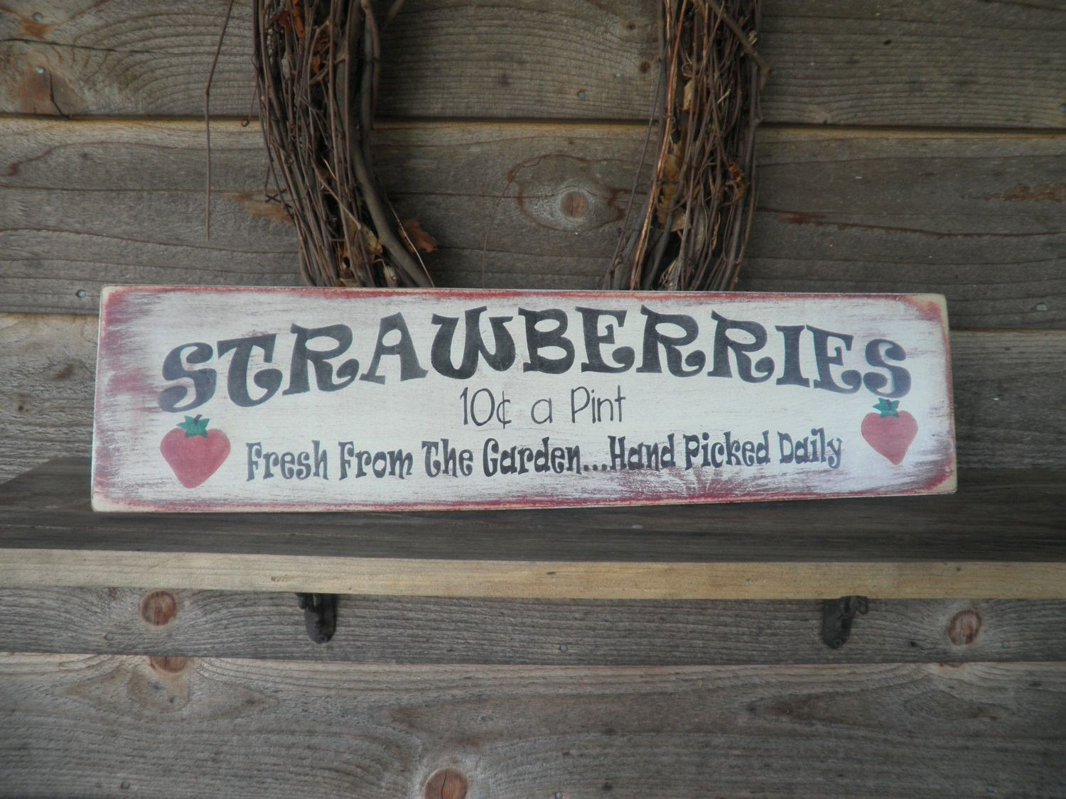 primitive home decor wood sign hand painted strawberry kitchen